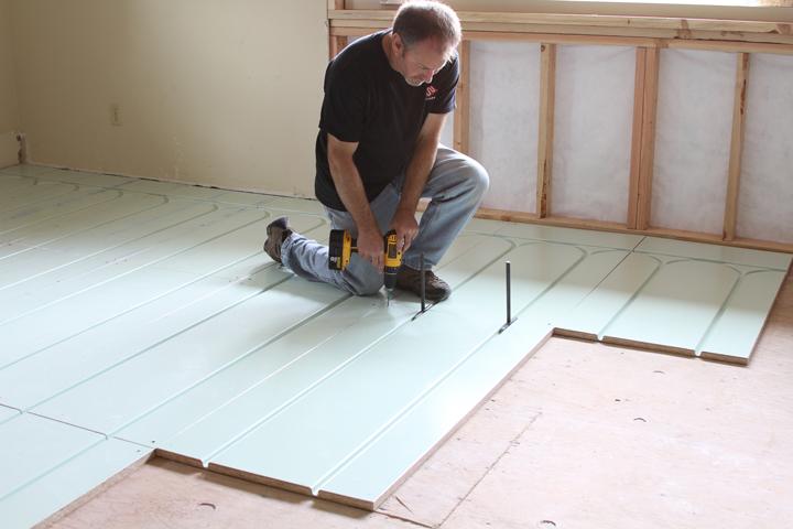 Warmboard subflooring panel installation